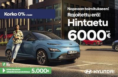 Kona Electric täyssähkö 6000 €:n edulla nopeaan toimitukseen!