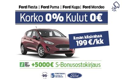 Ford Fiesta 0% korolla ja 0€ kuluilla + 5000€ S-Bonusostokirjaus