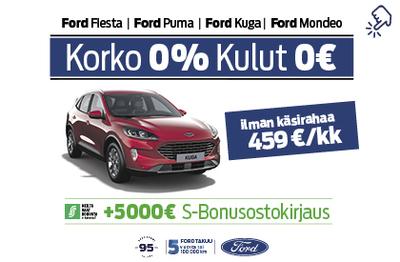 Ford Kuga 0% korolla ja 0€ kuluilla + 5000€ S-Bonusostokirjaus