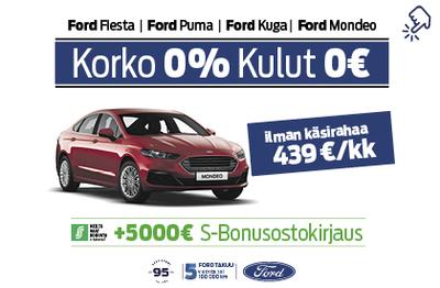 Ford Mondeo 0% korolla ja 0€ kuluilla + 5000€ S-Bonusostokirjaus