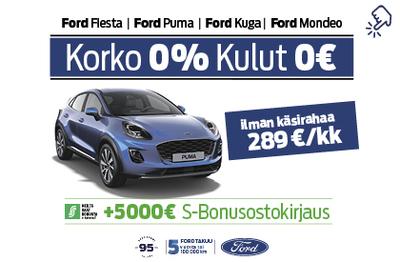 Ford Puma 0% korolla ja 0€ kuluilla + 5000€ S-Bonusostokirjaus