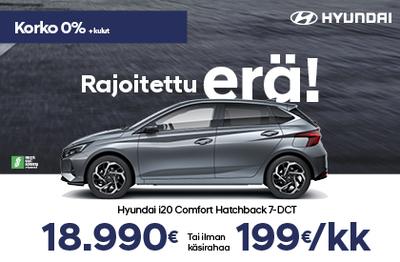 Rajoitettu erä Hyundai i20-mallia. 0% korolla +kulut. Lisäksi +2000€ Bonusostokirjaus.