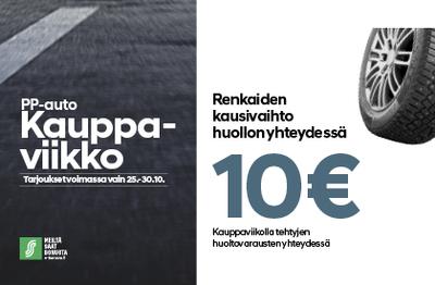 Renkaiden kausivaihto huollon yhteydessä 10 €!