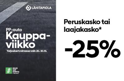 Kauppaviikkojen ajan Perus- tai laajakasko -25%
